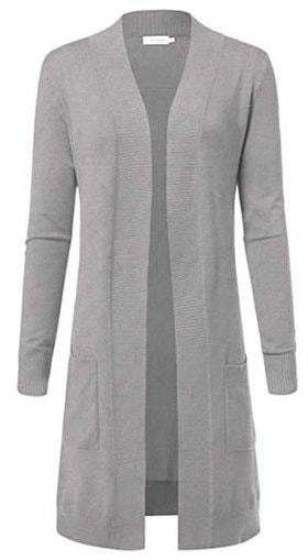 ARC Studio Women's Solid Soft Stretch Longline Long Sleeve Open Front gray Cardigan | 40plusstyle.com