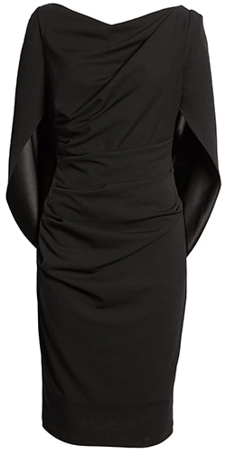 Wardrobe essentials - Betsy & Adam drape back scuba crepe cocktail dress | 40plusstyle.com