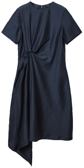 Try a dress with asymmetrical elements to hide your tummy | 40plusstyle.com