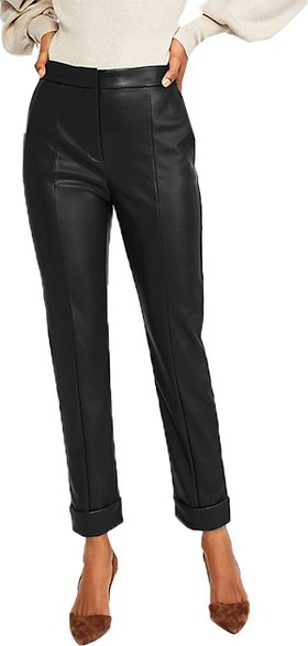 Ann Taylor faux leather high waist ankle pants | 40plusstyle.com