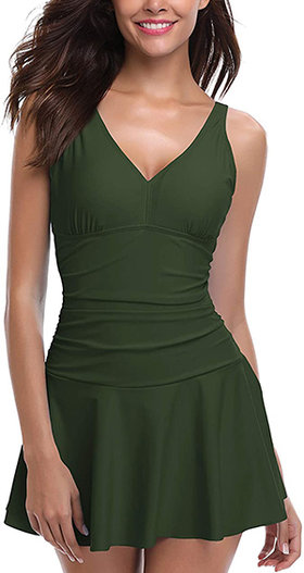 SHEKINI Ruched One-Piece Swim Dress | 40plusstyle.com