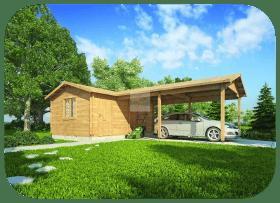 Caseta de Jardín con Porche Almacén4 6,0m x 4,0m + 6,0m 45mm Grosor de la Madera MNVEEK