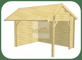 Porche de Madera Rico1 Vista Frontal 2 Aguas MNVEEK