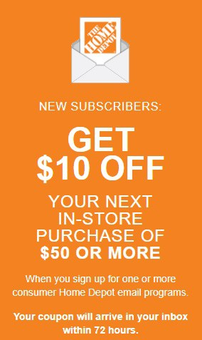 The Home Depot 10 Off Your 50 In Store Purchase