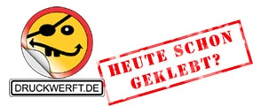Logo mit Slogan in Stempeloptik