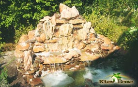 декоративный пруд с водопадом маленький