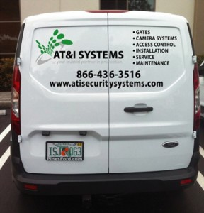Back view of AT&I System company vehicle