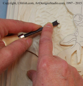 Round gouge texture in a relief wood carving background