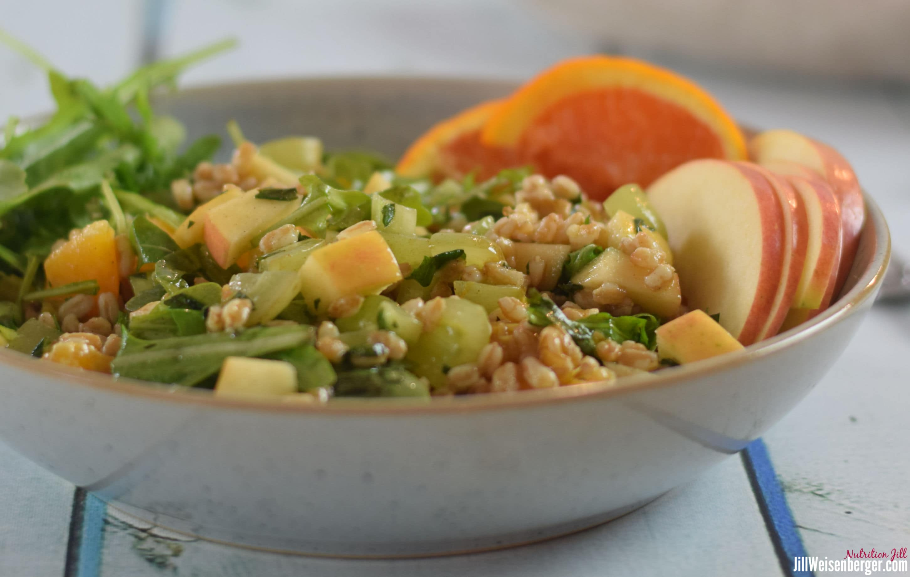waldorf farro salad in a bowl