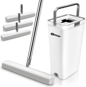 Aone Sponge Mop And Bucket With 3 Mop Heads
