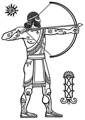 An ancient archer with his arrow on the outside of the riser.