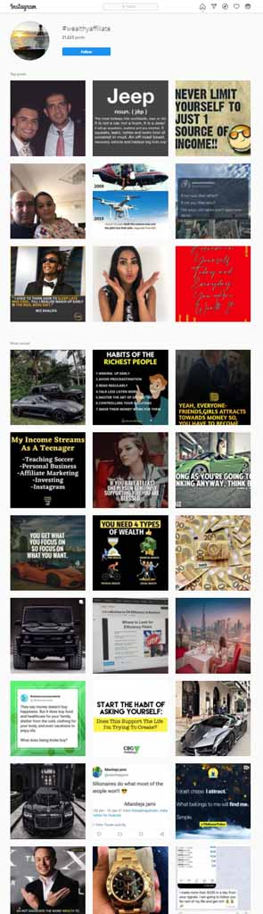 A sample of posts with the Wealthy Affiliate hashtag, from the social media site Instagram