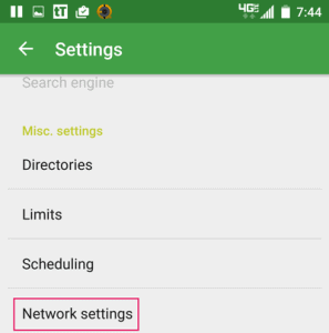 tTorrent Settings Menu