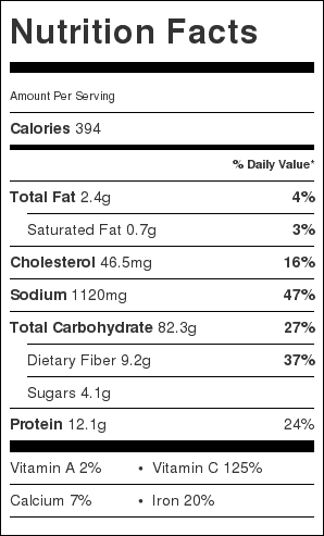 Potato Soup Nutrition Label. Each serving is about 2 cups of broth and 2 noodles.
