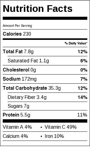 Lentil, Rice and Fruit Salad Nutrition Label. Each serving is about 3/4 cup.