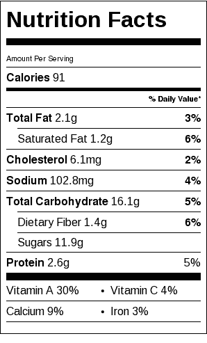 Baked Vegan Pumpkin Banana Pudding Nutrition Label. Each serving is 1/2 cup.