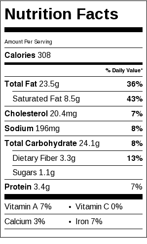 Gluten Free Pie Crust Nutrition Label. Each serving is 1/6 pie crust.
