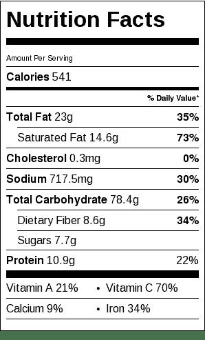Leek and Potato Soup Nutrition Label. Each serving is about 1 cup.