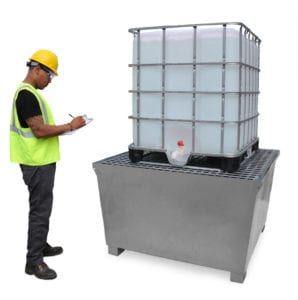 ibc spill pallet steel model tank with guy