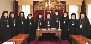 The Holy Eparchial Synod of the Greek Orthodox Archdiocese of America (L to R) Bishop Sevastianos of Zela, Metropolitan Gerasimos of San Francisco, Metropolitan Nicholas of Detroit, Metropolitan Isaiah of Denver, Metropolitan Iakovos of Chicago, Archbishop Demetrios of America , Metropolitan Methodios of Boston, Metropolitan Alexios of Atlanta, Metropolitan Savas of Pittsburgh and Metropolitan Evangelos of New Jersey.