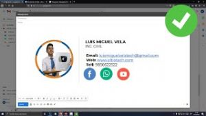 Captura de gmail con una firma personalizada con imagen y texto
