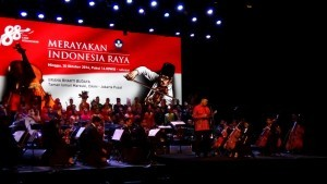 Photo caption: Minister of Culture and Education, MuhadjirEffendy gives speech at the socialization of Indonesia Raya 3 stanzas at TIM, Jakarta, Sunday (30/10)