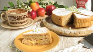 French Apple Cake sliced and on a tea plate vegan and gluten free