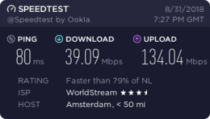 Cyberghost Speedtest Result (Torrent/p2p server in the Netherlands)