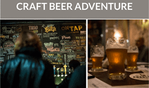 Buenos Aires Beer Tour Flyer that says 'Craft Beer Adventure' with a picture of a pub and a pint of beer