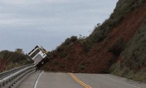 Truck Caught in a Landslide