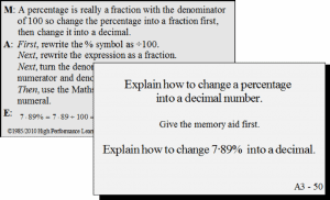 Card A3 - 50: Explain how to change a percentage into a decimal number