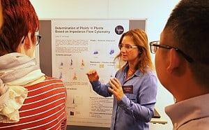 "Dr. Grit Schade presenting her poster on: ""Determination of ploidy in plants based on impedance flow cytometry"""