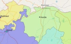 Map of Hurda City in Bhilwara District, Rajasthan
