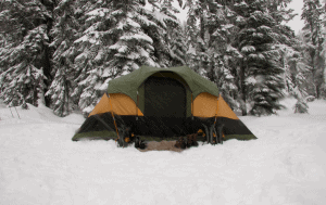 a large tent in the snow