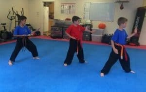 Teamwork in Martial Arts. Friends playing together.