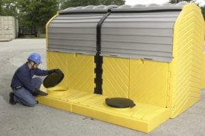 modular ibc hardtop spill pallet 2 tank outdoor model opening lid