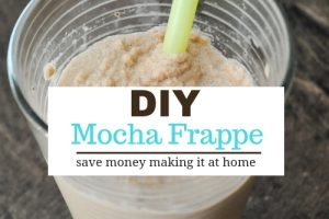 homemade mocha frappe in a glass with straw