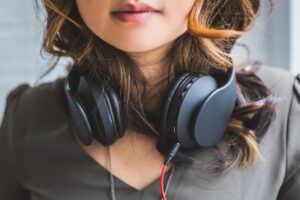 people, woman, headphones