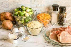 Crispy Cheddar Pork Chops Sheetpan Dinner Process-1