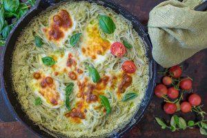 gluten free one skillet Alfredo Basil pasta