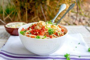 tomato feta pasta, gluten free