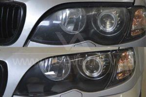 Фото полировки фар BMW 3 до и после