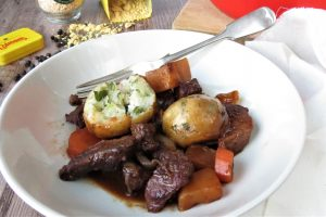 Beef Stew and Gluten Free Dumplings made with easy to make homemade Gluten Free Suet