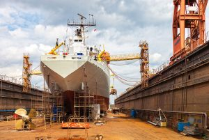 Large ship under construction