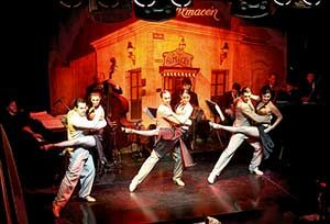 Dancers performing on stage at the Viejo Almacen Tango Show in Buenos AIres