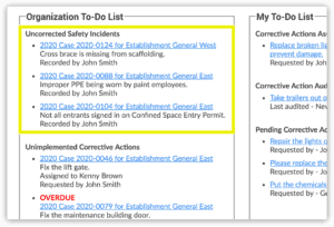 Safety 101's home screen to-do-list tells you which safety incidents are missing corrective actions and need to be fixed