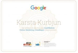 Google Digital Workshop Zertifikat Karsta Kurbjun