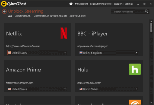 Cyberghost can unblock streaming apps like netflix automatically