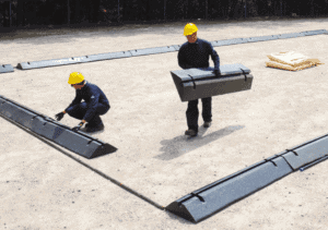 modular installation of spill containment berms