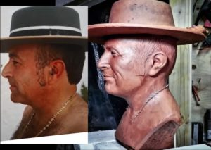 busto en barro de perfil